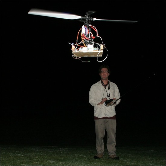 flying a helicopter at night, blind