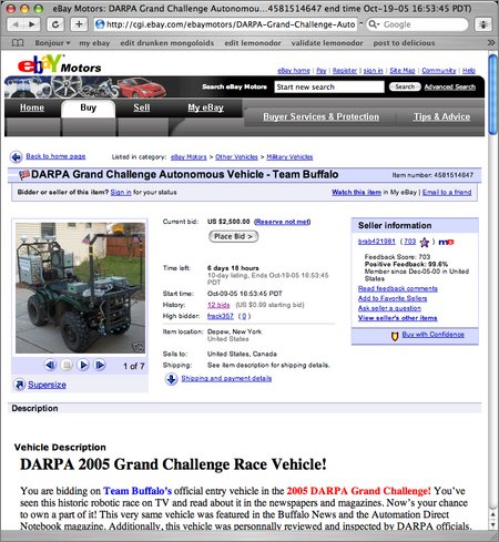 grand challenge vehicle ebay auction