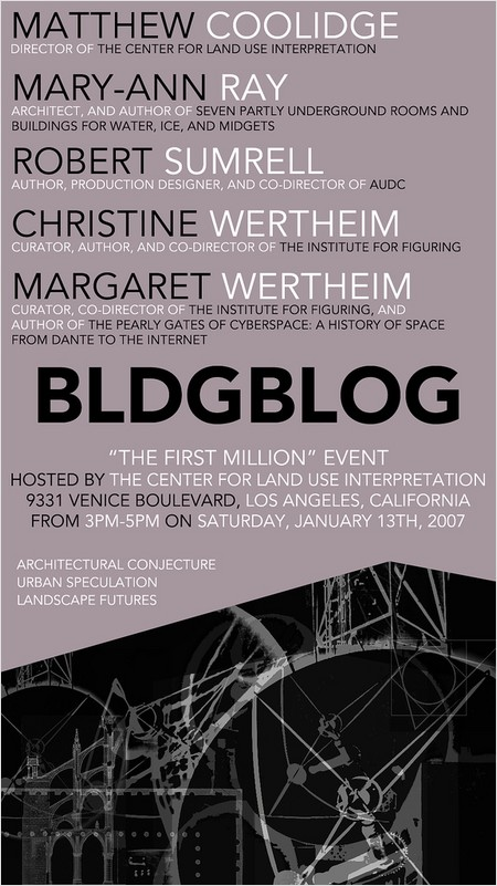 BLDGBLOG's 'first million' event at CLUI