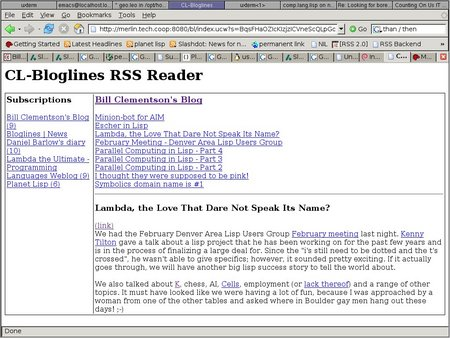 drewc's bloglines reader