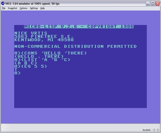 screenshot of micro-lisp for the C64