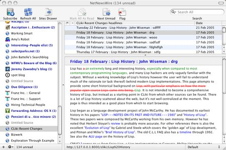 screenshot of cliki rss feed with html diff'ed recent changes