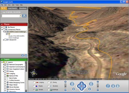 2005 grand challenge course in google earth