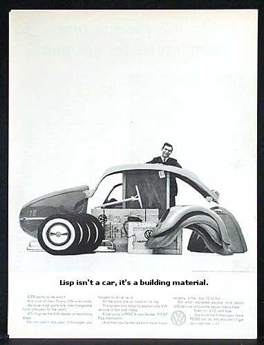 lisp isn't a car, it's a building material