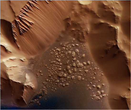This image was taken by the High-Resolution Stereo Camera (HRSC), onboard ESA's Mars Express imaged the Noctis Labyrinthus region, the 'Labyrinth of the Night' on Mars.
