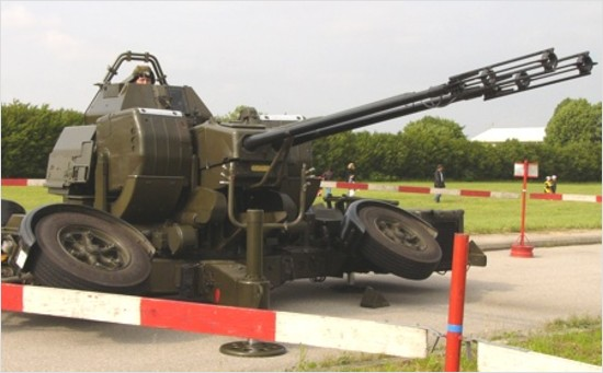oerlikon mk5 35mm anti-aircraft gun on display