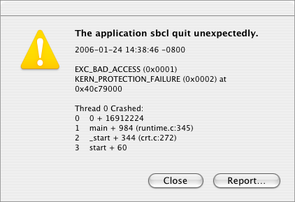 the application sbcl quit unexpectedly