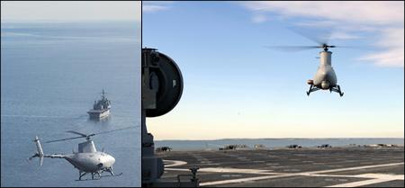 RQ-8A Fire Scout UAV lands on a ship