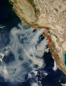 satellite image of the crazy fires and smoke