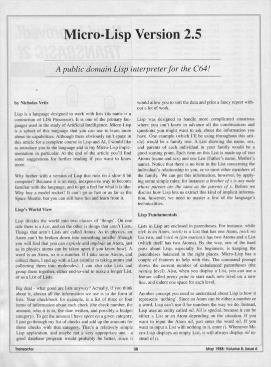 micro-lisp in transactor magazine