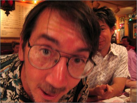 will wright and patrick farley at the traditional big comic con dinner
